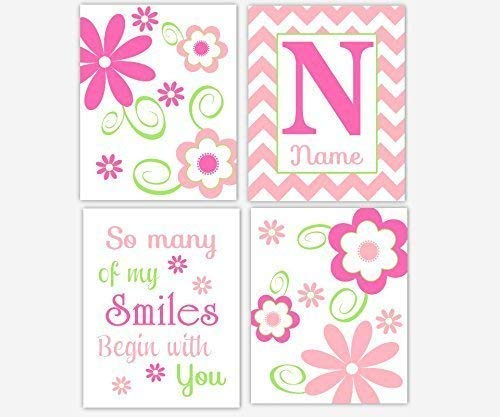 Girl Nursery Art Flowers Hot Pink Lime Green Floral Wall Prints Personalize Monogram Name Chevron Quotes Sayings Floral Home Baby Decor 4 UNFRAMED PRINTS