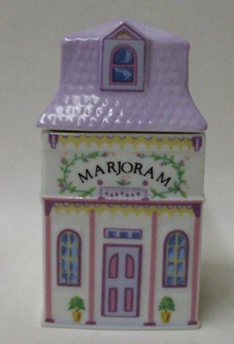 "Lenox New Marjoram Spice Jar – ""The Lovely Spice Village"" – Fine Porcelain Spice Jar, 1989"