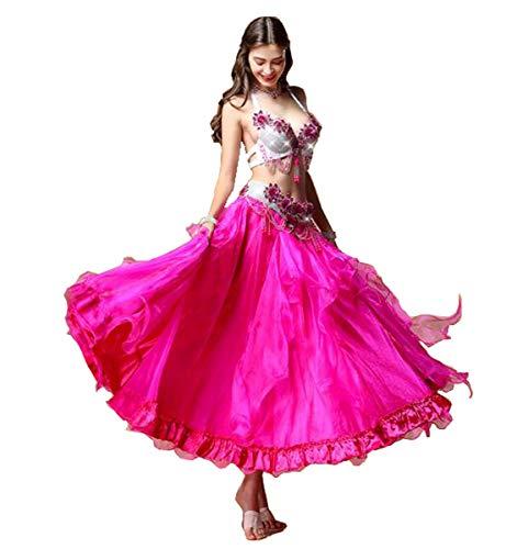NANXCYR Gonna da Donna Fata Danza del Ventre Gonna in Chiffon Costume Vestito da Ballo di Halloween Elegante Sala da Ballo Abito da Spettacolo Latino Lungo Abito Bollywood,Rosa,XL