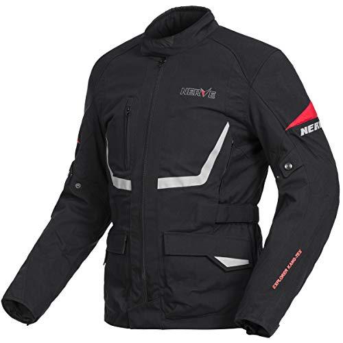 Nerve Outback Moto Chaqueta Verano invierno motocicleta Roller Chaqueta Protektor Chaqueta Textil Hombre Slim, color negro, tamaño M