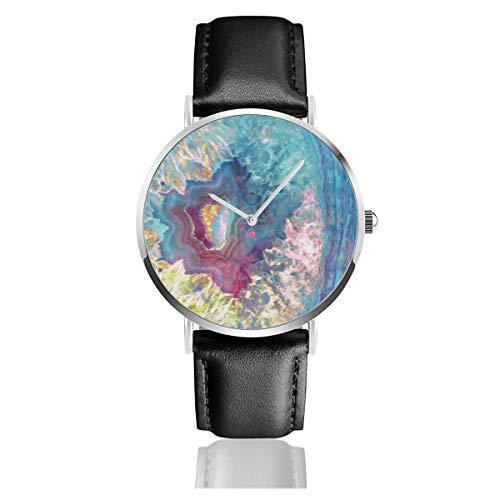 Abalone Geode Reloj de Pulsera de Cuero con Correa de Acero Inoxidable,...