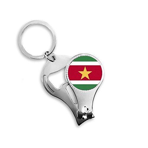 Suriname Nationale Vlag Zuid-Amerika Land Symbool Mark Patroon Metalen Sleutelhanger Ring Multifunctionele Nagel Clippers Fles Opener Auto Sleutelhanger Beste Charm Gift