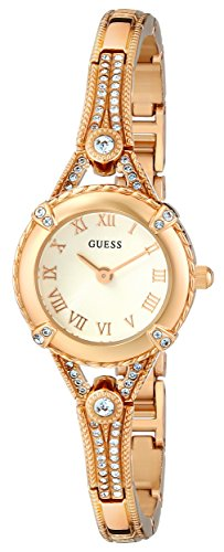 GUESS Petite Vintage Inspired Gold-Tone Crystal Bracelet Watch with Self-Adjustable Links. Color: Gold-Tone (Model: U0135L2)