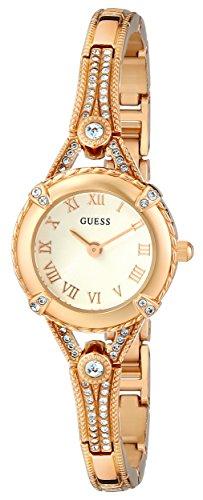 GUESS vrouwen 22mm gouden toon metalen armband & hoesje kwarts witte wijzerplaat analoge horloge U0135L2