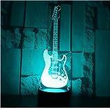 Guitarra Eléctrica Con Luz Nocturna Led 3D Con Luz De 7 Colores Para La Decoración Del Hogar Visualización De La Lámpara Ilusión Óptica Impresionante
