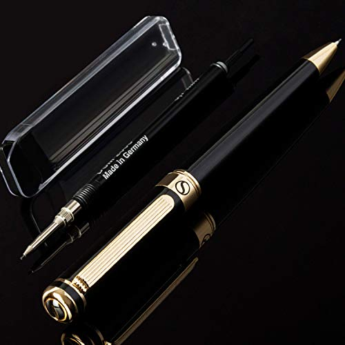 Scriveiner Portaminas 0.7 Negro, Diseño Clásico y Elegante con Detalles de Oro de 24K, Mecanismo Schmidt, Minas de Repuesto, Lápiz Mecánico ideal para Dibujar y Escribir