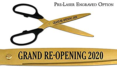 "Pre-Laser Engraved ""GRAND RE-OPENING 2015"" 36"" Gold Ceremonial Ribbon Cutting Scissors"