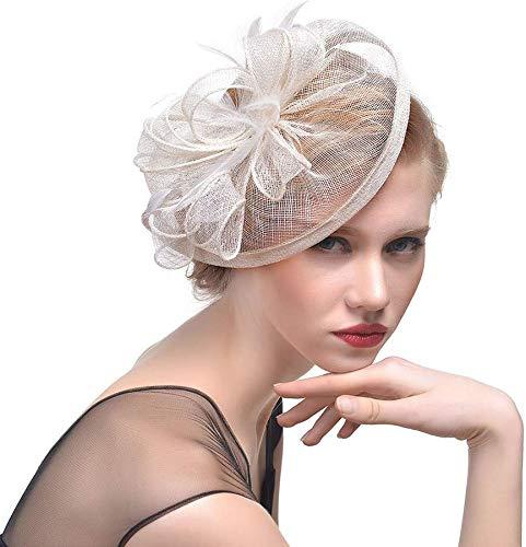 Dames Lady Mesh Hoed Cap Bruid Veer Haar Clip Headdress Bruiloften Party Haaraccessoires Kleur: wit