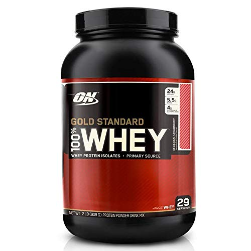 Whey Protein 100% Gold Standard, Optimum Nutrition, Morango, 909 g