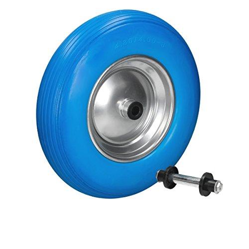 ECD Germany Schubkarrenrad aus pannensicherem PU Vollgummi mit Achse - Reifen mit Stahlfelge - 4.80/4.00-8 - Durchmesser 390 mm - Blau - Ersatzrad Gummirad Schubkarren Rad