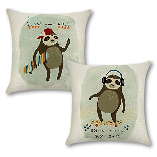 JOTOM Decorative Cushion Covers Square Pillow Covers Animal Pillowcase for Couch Sofa Home Car Decorative 45x45 cm,Pack of 2 (Sloth)