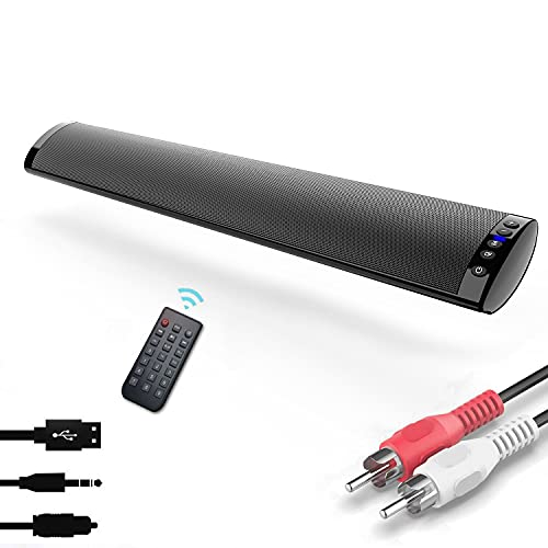 Barra de Sonido TV, Nueva Bluetooth 5.0, Profesional Sonido Envolvente Altavoz para TV Home Cinema, Apoyo RCA AUX óptico USB TF Tarjeta, Compatible para TV Moviles Tableta, Montable en la Pare