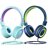 Kids Headphones with Microphone (2-Pack), Wired On-Ear Headsets with 91dB Volume Limit & Sharing Splitter for Children Boys Girls Online School/Travel/iPad/Tablet