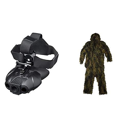 Bresser Digitales Nachtsichtgerät Binokular 1x mit Integriertem Akku, 7 stufiger Infrarotbeleuchtung inklusive gepolstertem Schultergurt und Kopfhalterung & Ghillie Suit Anti Fire 4-teilig, Größe:XL