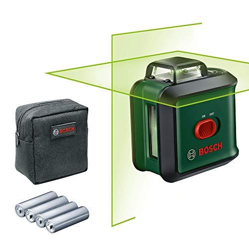 Bosch Livella laser UniversalLevel 360, Laser Verde, Raggio d'Azione Fino a 24 m, Precisione ± 0.4 mm/m, Autolivellamento Fino a ± 4°, 4x Batterie AA, Confezione in Cartone