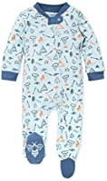 Burt's Bees Baby Baby Boys' Sleep and Play Pjs, 100% Organic Cotton One-Piece Romper Jumpsuit Zip Front Pajamas
