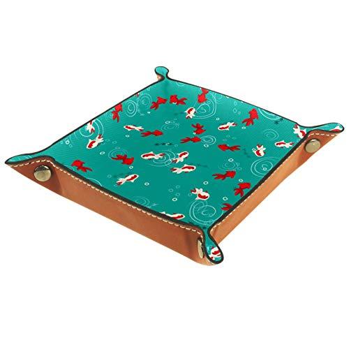 Bandeja de valet, organizador de escritorio, caja de almacenamiento, pez dorado de cuero, nadando en estanque verde, bandeja de recogida de agua para uso doméstico