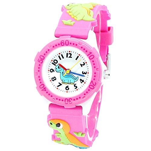 Bebé reloj Reloj de pulsera de cuarzo analógico con esfera redonda de plástico para niños con movimiento de dinosaurio 3D, reloj con patrón bonito de dibujos animados en 3D, resistente al agua 30M