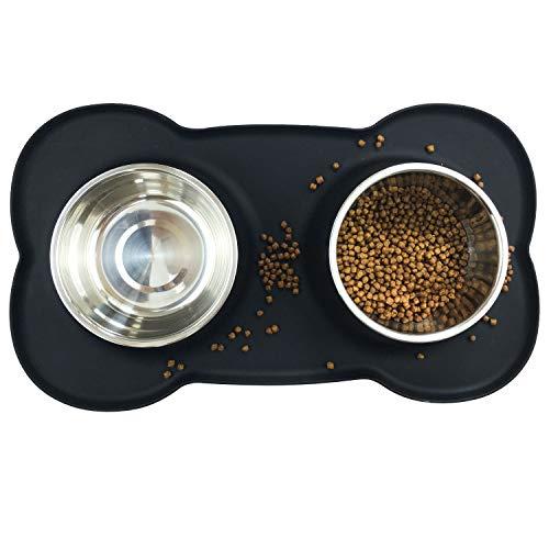 Ciotole per cani e gatti in acciaio inossidabile 2x850ml, 2 ciotole per mangiatoie per animali domestici con base in tappetino silicone antiscivolo,Assicurazione,Durevole (nero)