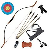 TOPARCHERY 53'' Recurve Bow and Arrow for Adults Traditional Bow Longbows Horsebow Handmade 30lbs - 50lbs Left Right Hand for Hunting Practice (40)