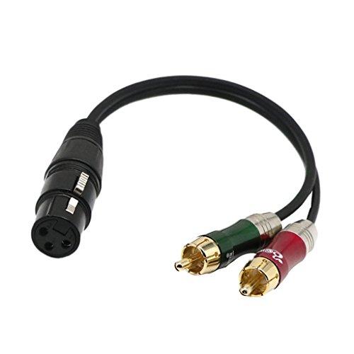 12 Zoll XLR Buchse Auf Zwei Cinch Stecker Phono Kabel Splitter Audiokabel