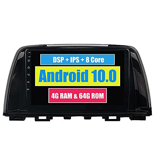 Roverone 10,2 Pouces Android 6.0 Octa Core pour Mazda 6/2013 2014 Autoradio avec navigation GPS Bluetooth stéréo Miroir Link Full écran tactile