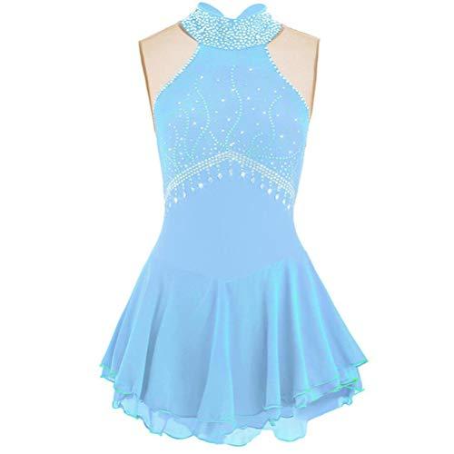 YunNR Vestido de Patinaje Artstico para Nias/Damas Disfraz de Competencia sobre Hielo Cabestro Sin Mangas Leotardos de Espectculo de Danza de Hielo Traje de Patinaje con Cristales,Azul,Child14