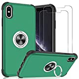 Designed for iPhone Xs Max Case, iPhone Xs Max Case with Screen Protector [2 Pack], Jshru Built-in Ring Kickstand Reinforced Corner [Shockproof] [Dropproof] Protective Case for iPhone Xs Max, Green