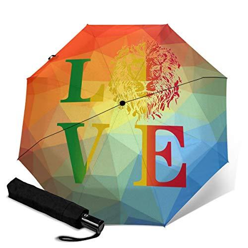 Paraguas Plegable Compacto con diseño de Ciervos de Cerveza, Resistente al Viento, para Viaje, Apertura y Cierre automático Naranja Rasta Lion Jamaica Reggae Love Talla única