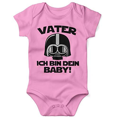 Mikalino Babybody mit Spruch für Jungen Mädchen Unisex Kurzarm Vater - ich Bin Dein Baby! | handbedruckt in Deutschland | Handmade with Love, Farbe:rosa, Grösse:62
