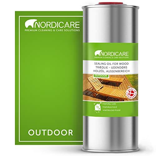 Nordicare Holzöl Außenbereich [1L] für Lärche, Eiche, Teak oder Akazienholz I Holz Öl Außen zum Holzschutz I Holzschutzöl Außen, Teaköl für Gartenmöbel, Holzpflegeöl, Lärchenöl, Bangkirai Öl