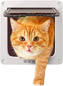 COLIBROX Cat Door for Big Cats and Small Dogs 7.5 x 7.8 Inch Large Entry Flap with Four Way Locking System White Plastic pet gate with Magnet for Interior Exterior Wall and Windows Weather Proof
