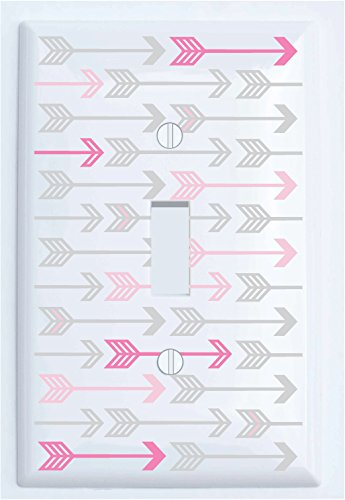 Single Toggle Pink, and Grey Arrow Print Light Switch Plate Covers/Arrows Woodland Forest Nursery Wall Decor for Baby Girls (Single Toggle)