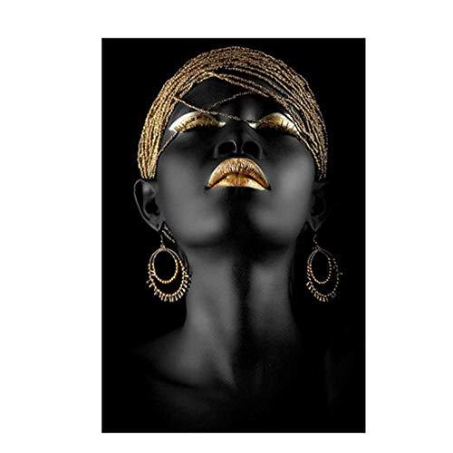 Cuadro en lienzo Mujer africana negra Pintura sobre lienzo Carteles Imagen de arte de pared para sala de estar 60x80cm Sin marco Dorado