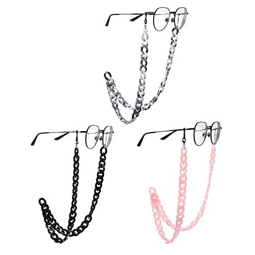 Opopark Catene per Occhiali da Vista in Acrilico Retro per Occhiali Catene per Occhiali da Sole con Anelli in Silicone Antiscivolo per Donna (3 pezzi)