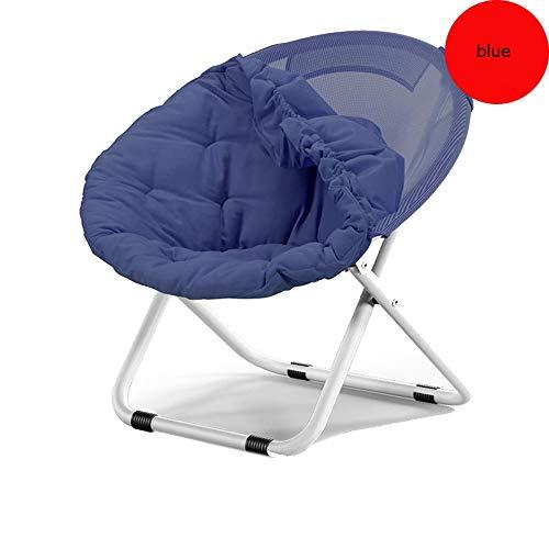 H-ei Moon Chair Lazy Sofa Klappstuhl Freizeit und Komfortables Zuhause Stuhl Abnehmbare Liege Four Seasons Universal Modelle 80 × 76 × 51 cm (Color : Blue)