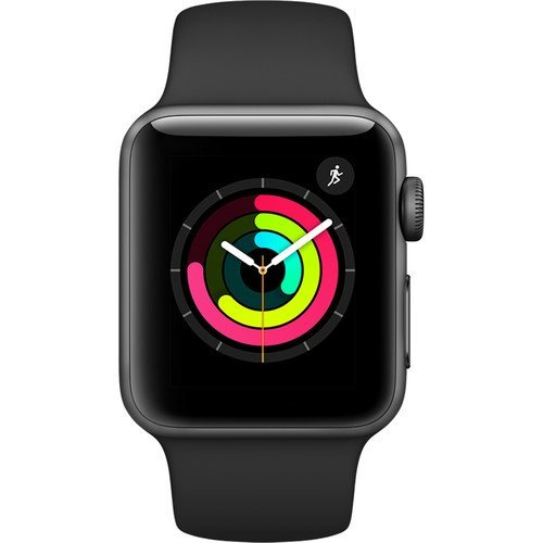 Apple Watch Series 3 (42mm, Space Gray Aluminum Hülle with Black Sport Band - GPS + Cellular) (Generalüberholt)