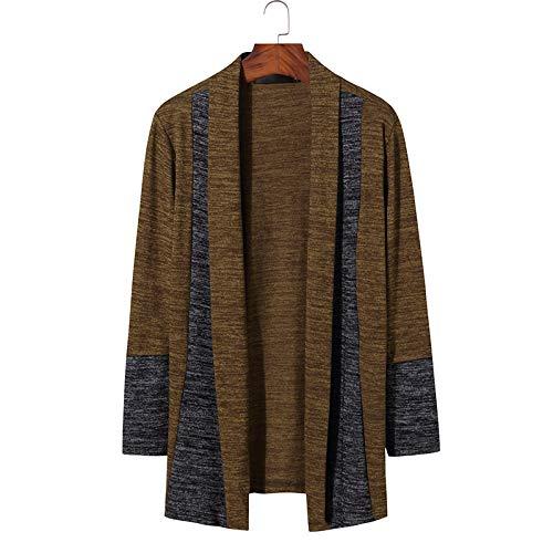 Zestion Suéter con Cuello Chal para Hombre, retales, Costura, Bloqueo de Color, Tendencia de Personalidad Europea y Americana, suéter Informal XX-Large