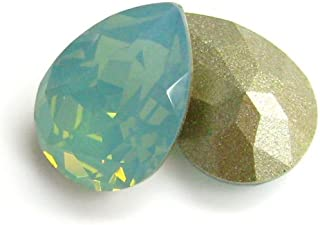 2 pcs Swarovski Crystal 4320 Olive Pear Pacific Opal Stone 14mm x 10mm / Findings/Crystallized Element