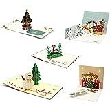 クリスマスカード3Dポップアップグリーティングカードメリークリスマスカードクリスマスニューイヤー5パック