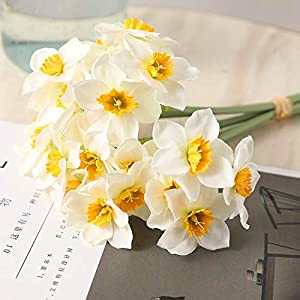 Artificial and Dried Flower 5pcs/Lot Artificial Simulation Narcissus Flower Daffodil Fake Flowers Silk Flower Bouquet Wedding Home Decor – ( Color: White )