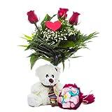 Florclick - Pack Te Quiero- Ramo de 3 rosas rojas, corazón, peluche y ramito de chuches
