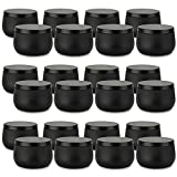 Candle Tin 24 Piece, 8 oz, Candle Containers with Lid, Black Candle Jars for Candle Making, DIY Candle Can Tin Bulk Candle Making Party Supplies