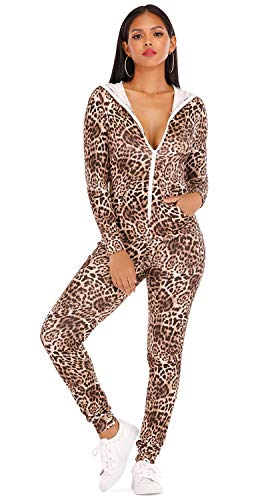 CoolooC Women's Sexy Long Sleeve Bodycon Jumpsuits Hoodie Leopard Print Sexy Onesies for Women (Large, Leopard Print)