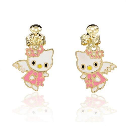 Orecchini da bambino Hello Kitty placcati oro giallo e smalto rosa