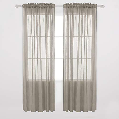 Deconovo Fenster-Gardinen aus Crushed Voile, 2 Vorhänge für Wohnzimmer, 132 x 160 cm, Silbergrau