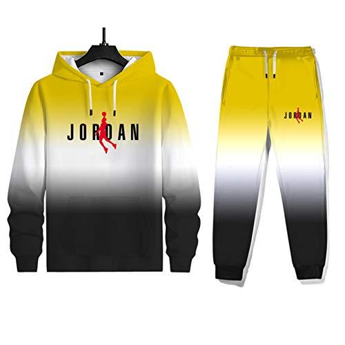 Jordan - Conjunto de chándal para hombre, impresión 3D, 2 piezas, chaqueta con capucha y pantalones largos para correr, atlético, gimnasio, sudadera con capucha