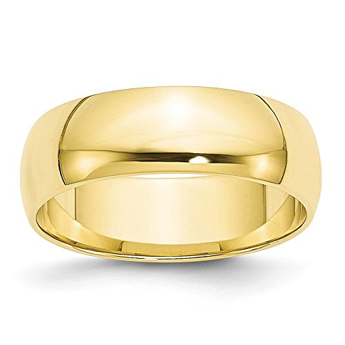 10k Yellow Gold 6mm Half Round Wedding Ring Band Size 6.5 Classic Fine Jewelry For Women Gifts For Her