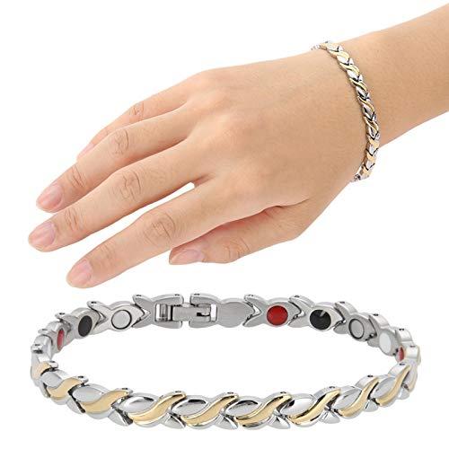 Pulsera, pulsera de titanio magnética ajustable para hombres y mujeres para el trabajo en casa, salón, reducción del dolor, pulsera de acero de titanio
