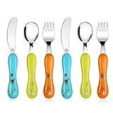 Lehoo Castle Toddler Cutlery, 6pcs Stainless Steel Dinosaurs Children's Cutlery Kids Cutlery Flatware, Incudes 2 x Spoons, 2 x Forks, 2 x Knives (Blue Green Orange)